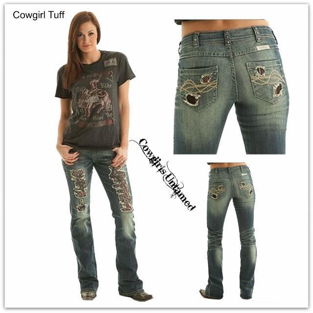 COWGIRL TUFF Boot Cut Bandana Jeans