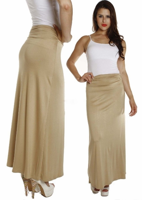 COWGIRL STYLE SKIRT Ruched Waist A-Line Jersey Western Maxi Skirt OR DRESS