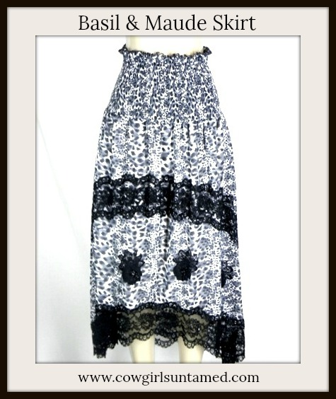 COWGIRL GYPSY SKIRT Black White Grey Leopard Print with Lace Trim Beaded Sequin Maxi Skirt