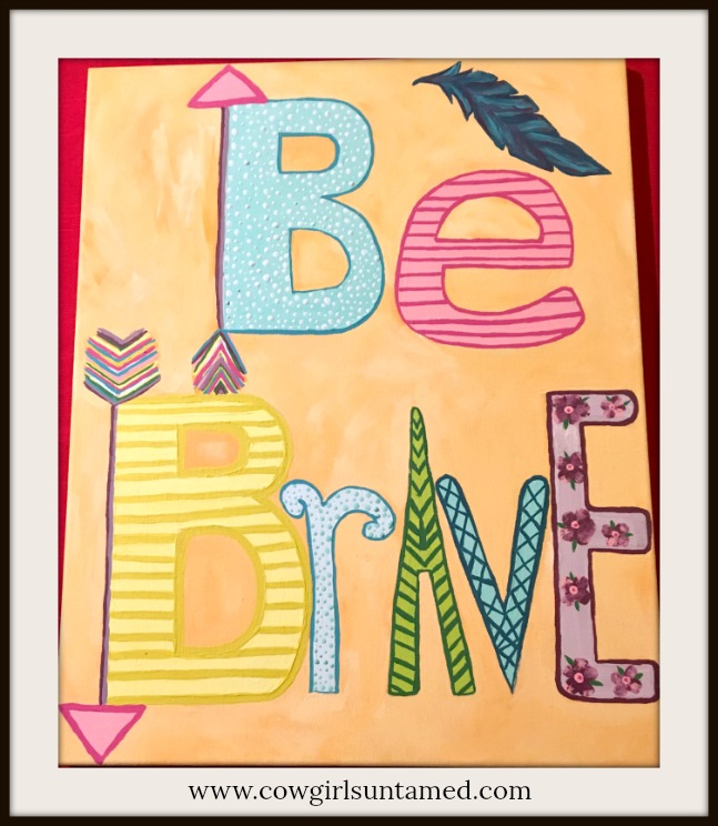 "BOHEMIAN COWGIRL PAINTING ""Be Brave"" Mixed Pattern Quote Canvas Wall Art"