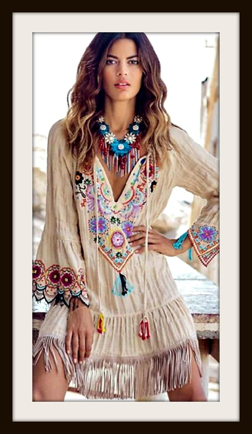 COWGIRL GYPSY DRESS Floral Print Embroidered Sleeves Fringe Hemline Boho Dress