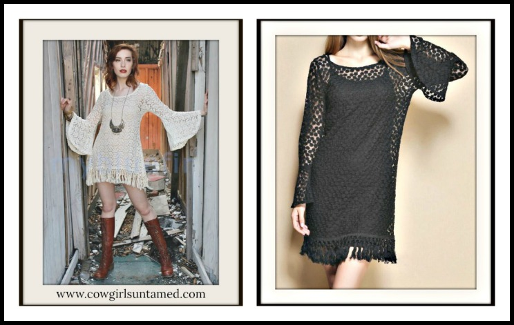 COWGIRL GYPSY DRESS Crochet Lace N Fringe Bell Sleeve Boho Mini Dress/ Tunic Top