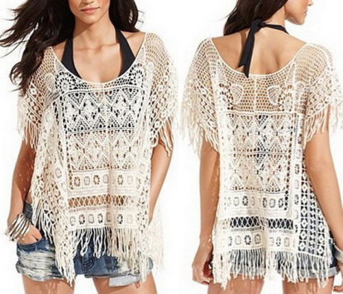 COWGIRL GYPSY TOP Beige Lace Crochet Boho Fringe Western Top
