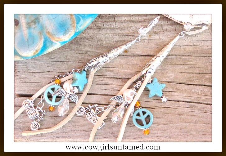 BIKER GAL EARRINGS Beige Leather Tassels Turquoise & Silver & Crystal Charms  on Silver Filigree Long Rhinestone Earrings