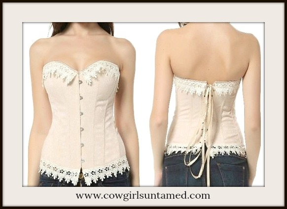 CORSET - Cream Teardrop Lace Trim Dusty Pink Floral Brocade Lace Up Back Western Corset Top