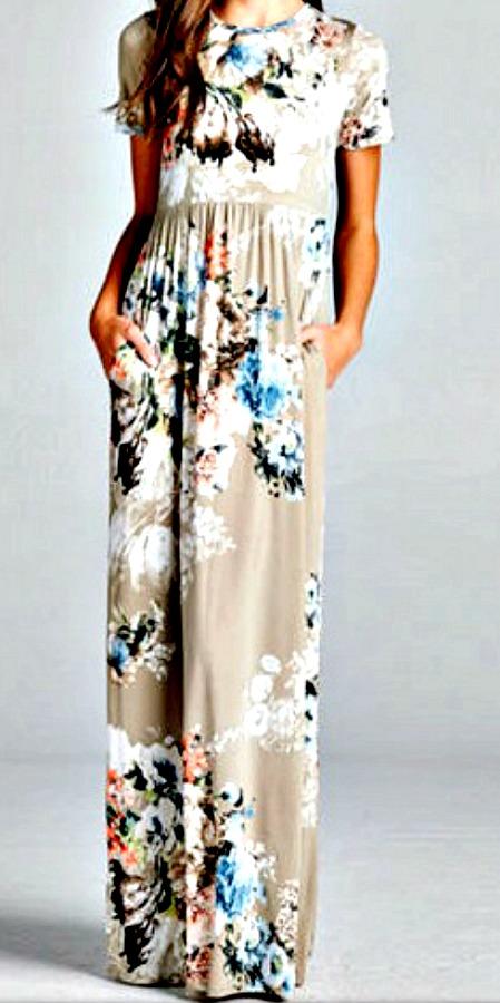 BOHEMIAN COWGIRL DRESS Floral Short Sleeve Gathered Waist Beige Maxi Dress