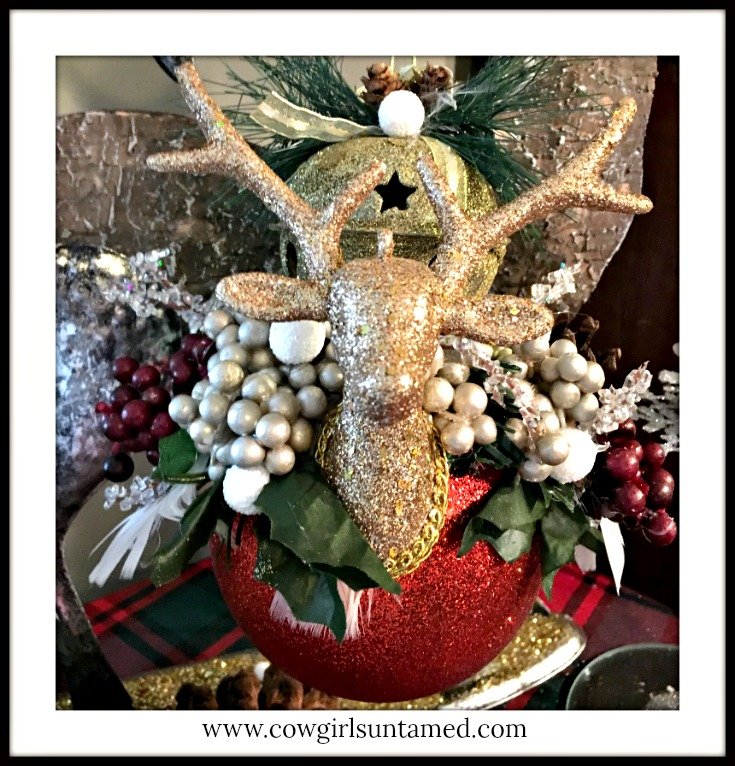 COWGIRL CHRISTMAS DECOR Handmade Feather Golden Deer Gold Bell and Berry Embellished Large Red Glitter Ball Ornament