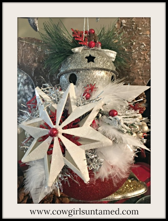 COWGIRL CHRISTMAS DECOR Handmade Feather Snowflake Silver Bell and Berry Embellished Large Red Glitter Ball Ornament