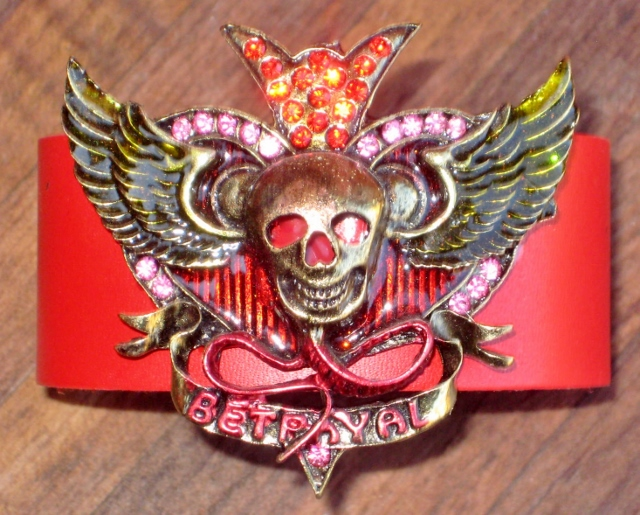 COWGIRL ATTITUDE CUFF Bronze Rhinestone Angel Wing Skull Red GENUINE Leather Western Cuff Bracelet