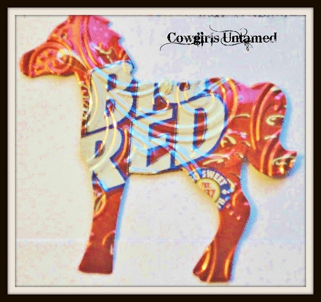 HOLIDAY HOME DECOR Red White Big Red Soda Tin Horse Western Christmas Tree Ornament