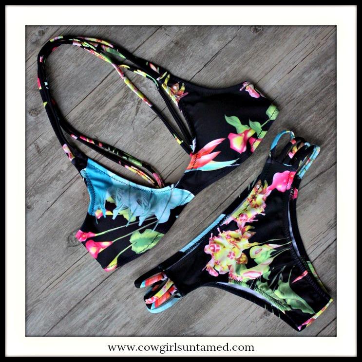 SUNDANCE COWGIRL BIKINI Tropical Floral Strappy Padded String Bikini