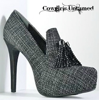 COWGIRL GLAM SHOES Black Crystal Tassels on a Charcoal Plaid  Wool Platform Heel DESIGNER Bootie