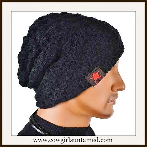 BEANIE CAP Unisex Chunky Warm Knit Designer Black Cap