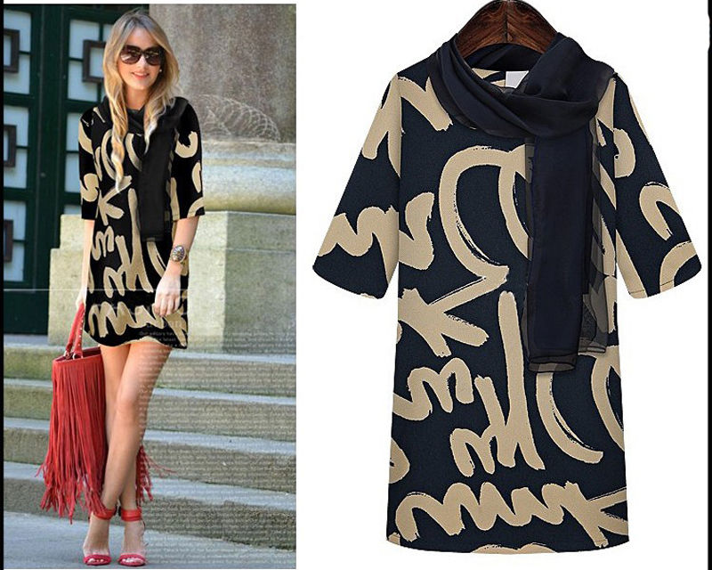 COWGIRL GLAM DRESS Black and Beige 3/4 Sleeve Scripted Tunic Top Mini Dress with FREE SCARF