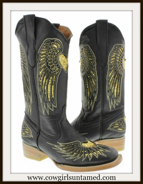 COWGIRL STYLE BOOTS Golden Sequin Angel Wing & Heart Underlay Square Toe Black Leather Western Boots