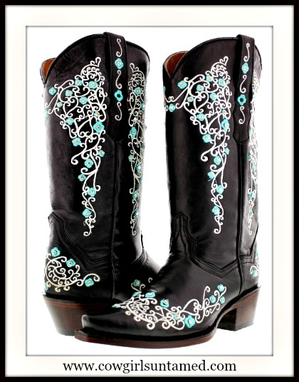 COWGIRL STYLE BOOTS White Floral BLACK GENUINE LEATHER Snip Toe Boots