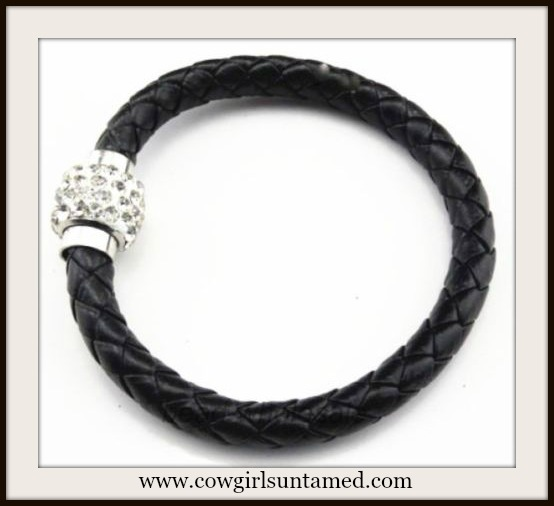 WESTERN COWGIRL BRACELET Black Braided Leather with Rhinestone Magnetic Closure