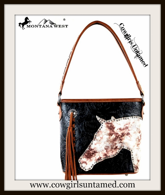 WESTERN COWGIRL HANDBAG Crystal Silver Studded Horse Head Brown Tassel Studded on Black Embossed Leather Handbag