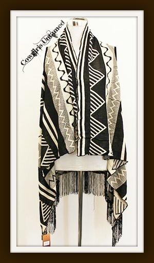 COWGIRL GYPSY SWEATER Beige and Black Fringe Tribal Sleeveless Poncho