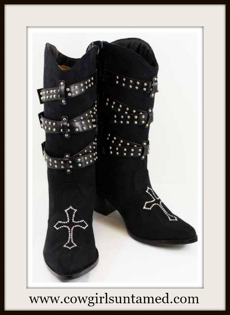 COWGIRL STYLE BOOTS Buckle Wrap Rhinestone Cross Black Suede Western Boots