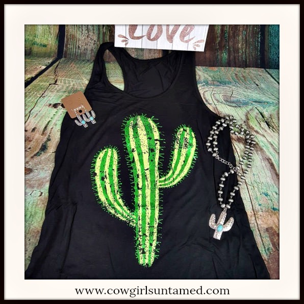 COWGIRL ATTITUDE TOP Green Desert Cactus on Black Racerback Oversized  Tank Top