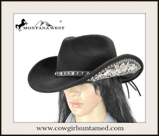 COWGIRL HAT White Embroidered & Silver Studded Sides on Black Fur Felt Hat