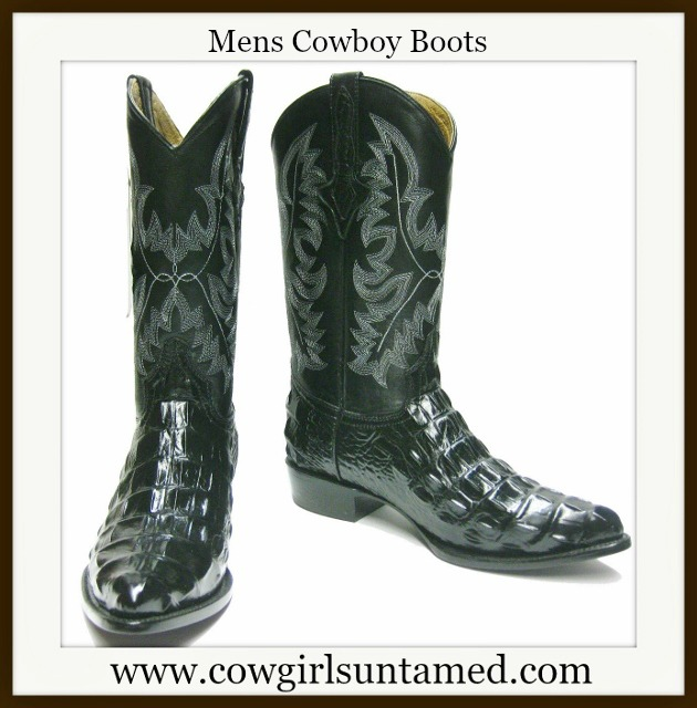 COWBOY BOOTS Black Exotic Crocodile Alligator GENUINE LEATHER Back Cut Western Boots