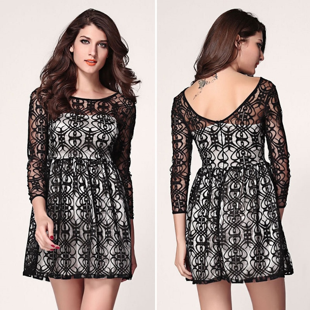 COWGIRL GLAM DRESS Black Crochet Lace over Satin Sweetheart Neckline Long Sleeve Western Mini Dress
