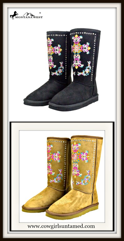 SPIRITUAL COWGIRL BOOTS Embroidered Cross on Fur Lined Winter Boots