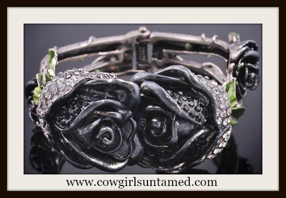 COWGIRL GYPSY CUFF Crystal Rhinestone Black Rose Antique Silver Cuff Bracelet