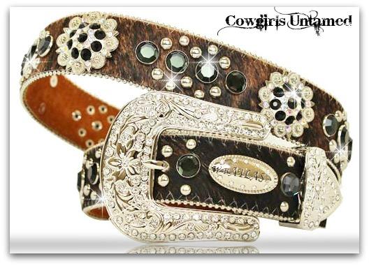 ATLAS BELT Black Crystal Rhinestone Studded Silver Concho Brown Genuine Leather Western Belt