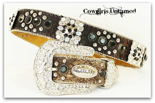 COWGIRL BELT Black Crystal & Rhinestone Studded Square Concho Brown Hair on Hide Western Belt