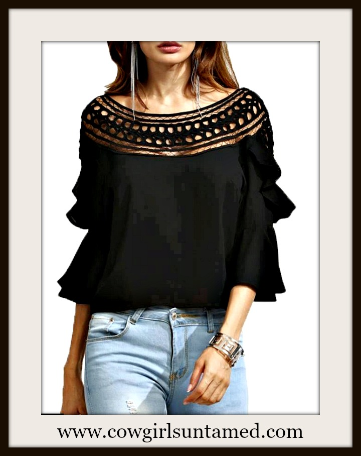 COWGIRL GYPSY TOP Black Crochet Neckline 3/4 Ruffle Bell Sleeve Boho Top