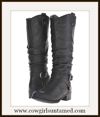 COWGIRL STYLE BOOTS Black Buckle Leather Designer Riding Boots