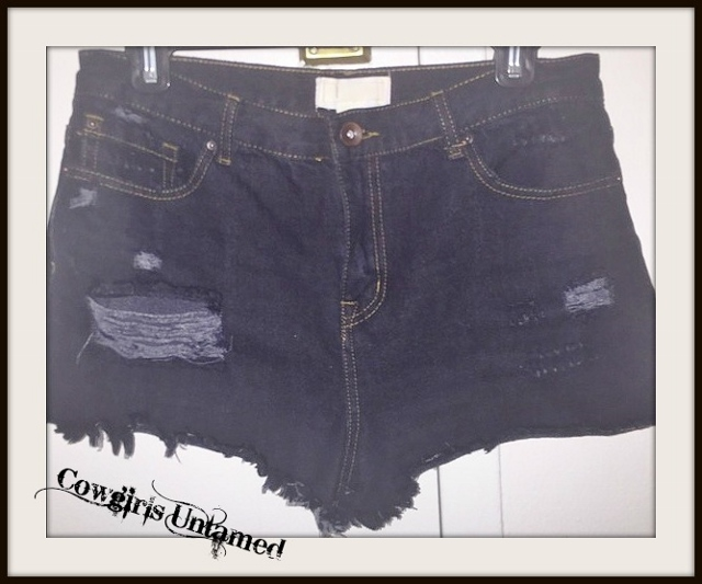 COWGIRLS ROCK SHORTS Black Distressed Cutoff Denim Jean Shorts