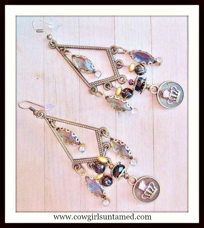 COWGIRL GYPSY EARRINGS Antique Rhinestone Black Crystal Crown Charm Long Chandelier Western Earrings
