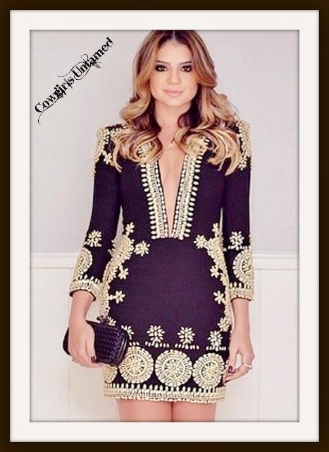COWGIRL GYPSY DRESS Black Deep V Neck 3/4 Sleeve Boho Design Mini Dress