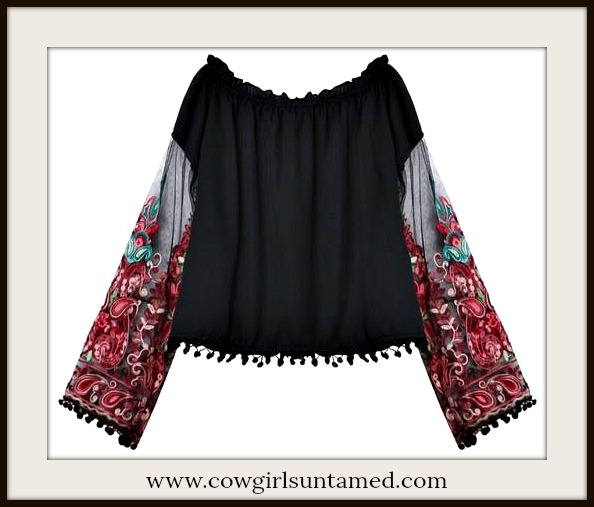 BOHEMIAN COWGIRL TOP Multi Color Embroidered Floral Sheer Sleeve Tassel Boho Top