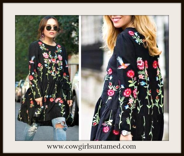 BOHEMIAN COWGIRL TOP Embroidered Floral & Bird Long Sleeve Ruffle Hem Tunic Top Mini Dress