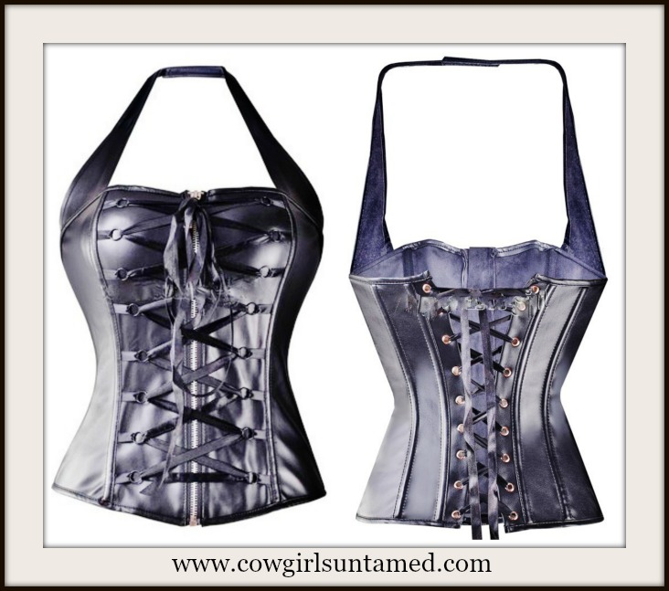 CORSET - Black Genuine Bonded Leather Halter Corset Bustier and Thong Panty