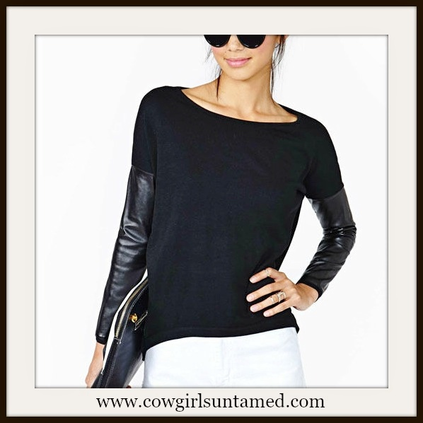 COWGIRL GLAM TOP Black Faux Leather Long Sleeve Top