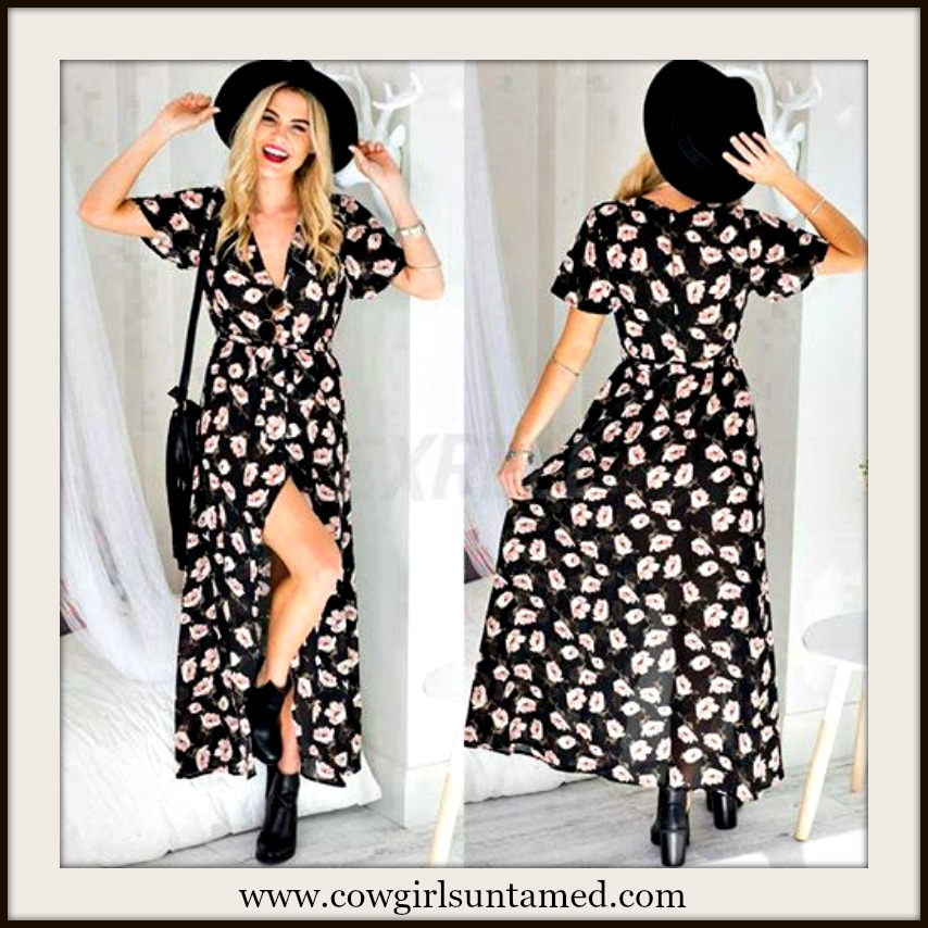 WILDFLOWER DRESS Tan Floral V Neck Short Sleeve Black Chiffon Maxi Dress