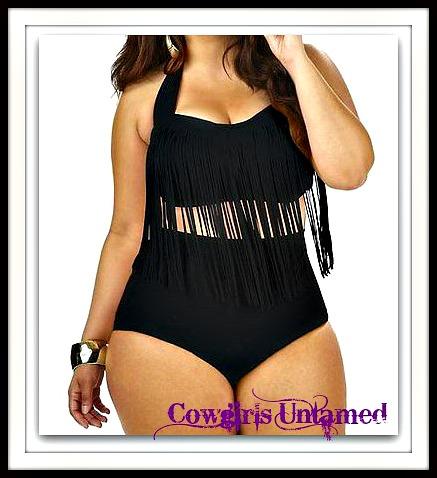 COWGIRL STYLE BIKINI Black High Waisted Fringe Plus Size Bikini