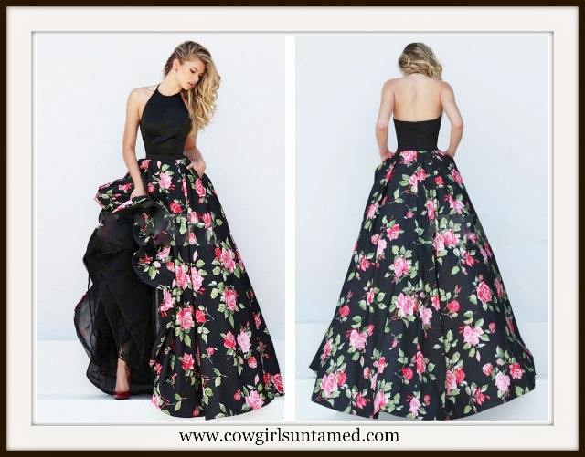 COWGIRL GLAM DRESS Black Halter Pink Roses Maxi Dress