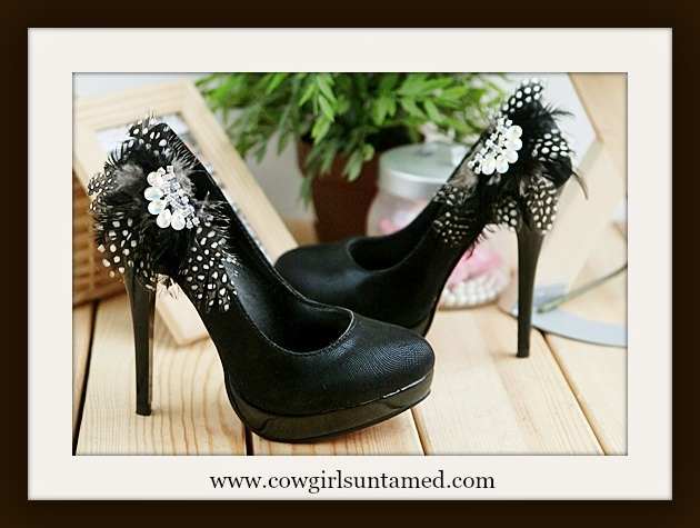 COWGIRL GYPSY SHOES Black Feather Rhinestone Crystal Platform Western Pumps Heels