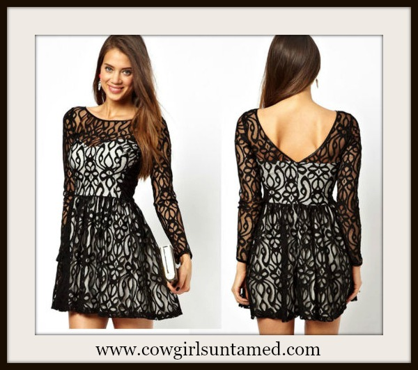 COWGIRL GLAM DRESS Black Lace over Satin Scoop Back Long Sleeve Mini Dress