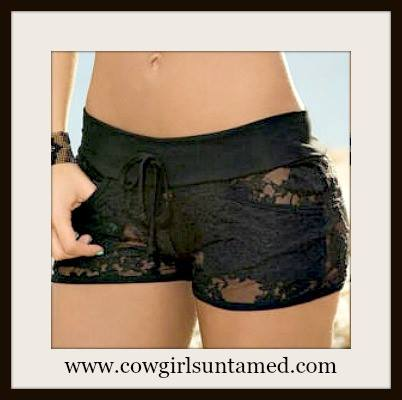 COWGIRL GYPSY SHORTS Black Stretchy Lace Low Rise Shorts