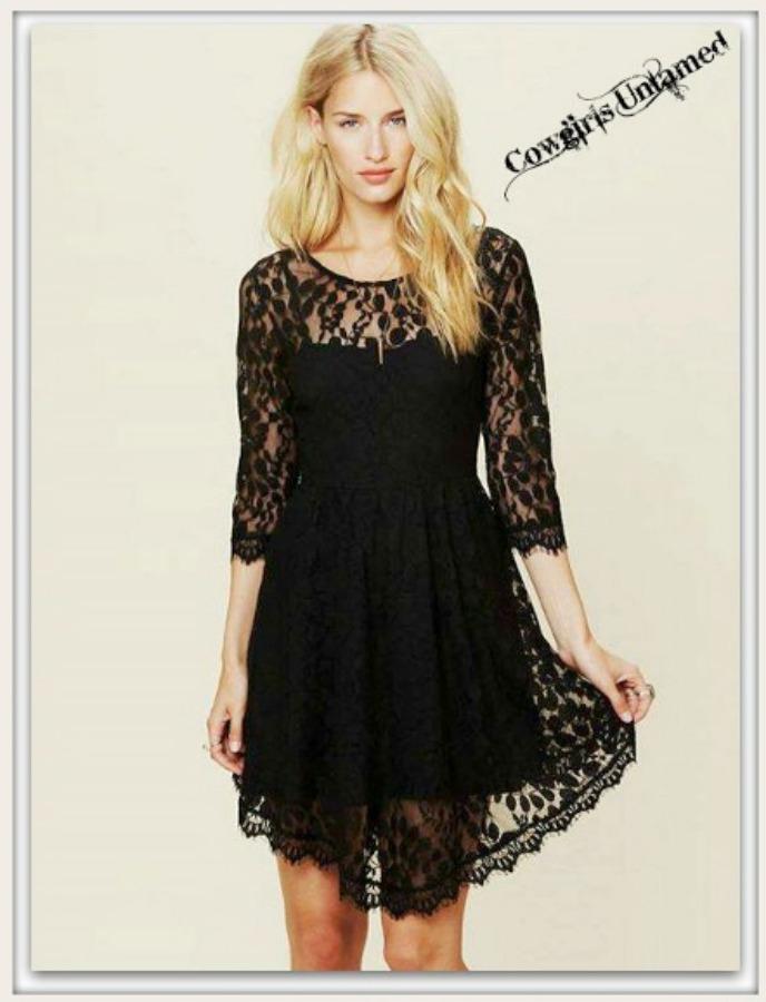 COWGIRL GLAM DRESS Black Lace Hi Lo Hemline 3/4 Sleeve Mini Dress with FREE SLIP