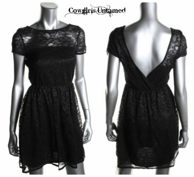 COWGIRL GLAM DRESS Black Lace with V Back Cap Sleeve Designer Dress