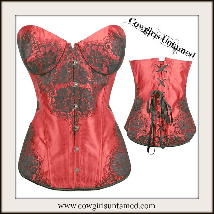 CORSET - Black Lace on Red Satin Lace Up Back Corset Top